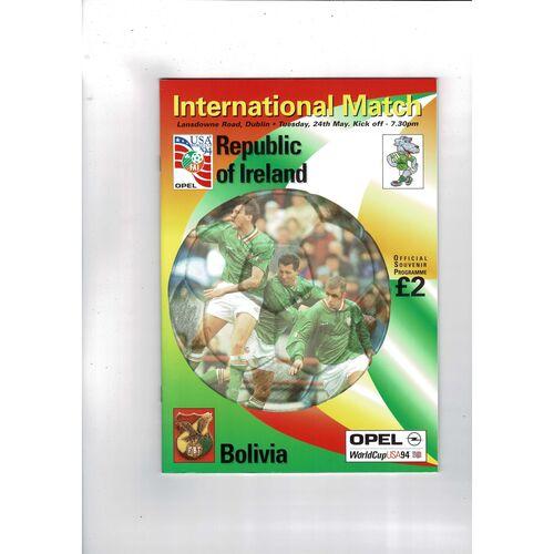 1994 Republic of Ireland v Bolivia Football Programme