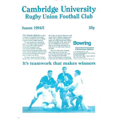 1994/95 Cambridge University v St. Mary's Hospital (12/10/1994) Rugby Union Programme