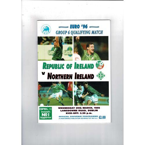 1995 Republic of Ireland v Northern Ireland Football Programme.
