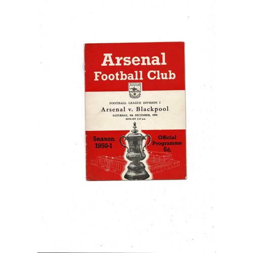 1950/51 Arsenal v Blackpool Football Programme