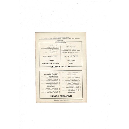 1950/51 Arsenal v Burnley Football Programme