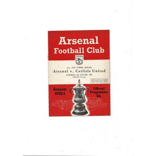 1950/51 Arsenal v Carlisle United FA Cup Football Programme