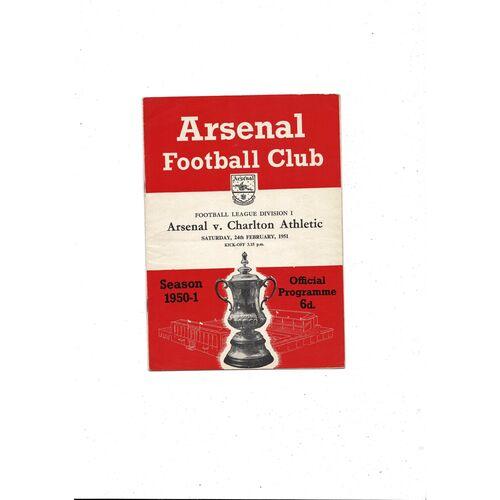 1950/51 Arsenal v Charlton Athletic Football Programme
