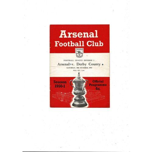 1950/51 Arsenal v Derby County Football Programme