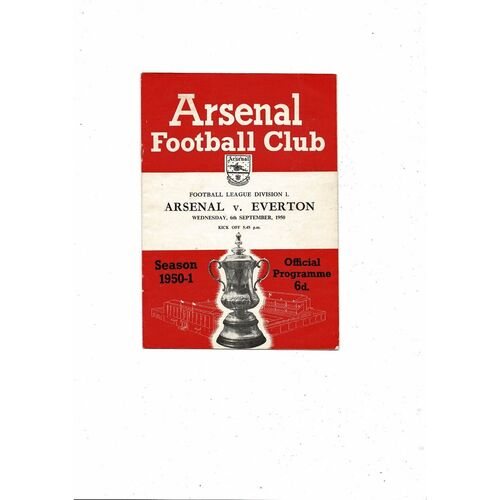 1950/51 Arsenal v Everton Football Programme