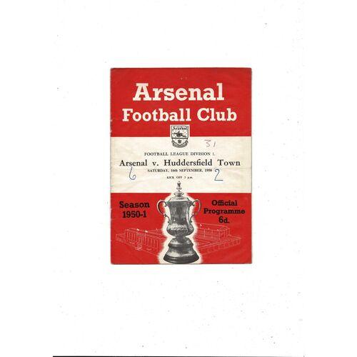 1950/51 Arsenal v Huddersfield Town Football Programme