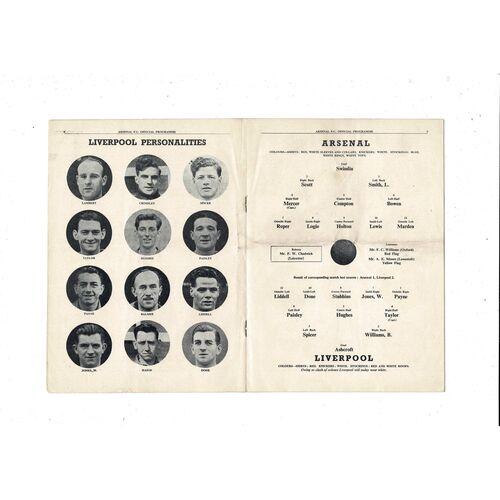 1950/51 Arsenal v Liverpool Football Programme