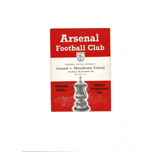 1950/51 Arsenal v Manchester United Football Programme
