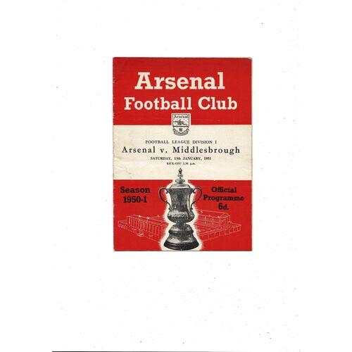 1950/51 Arsenal v Middlesbrough Football Programme