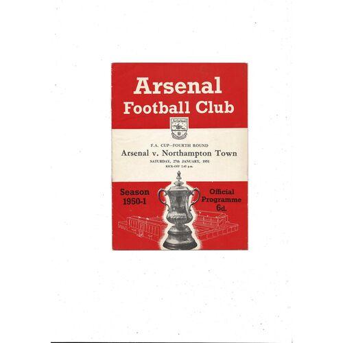 1950/51 Arsenal v Northampton Town FA Cup Football Programme