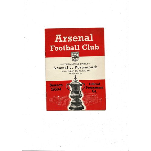 1950/51 Arsenal v Portsmouth Football Programme