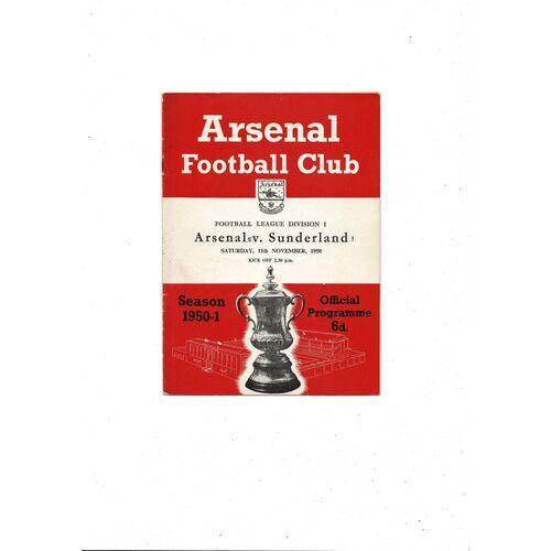 1950/51 Arsenal v Sunderland Football Programme
