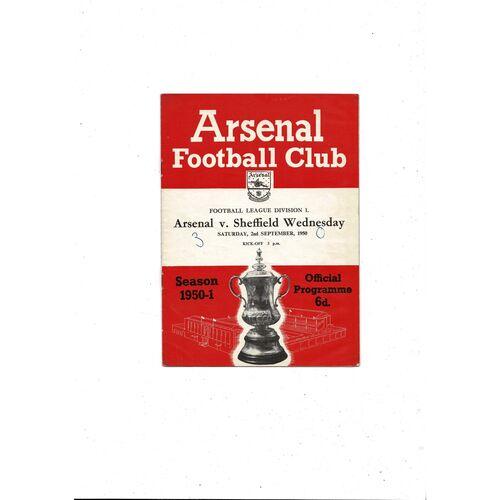 1950/51 Arsenal v Sheffield Wednesday Football Programme