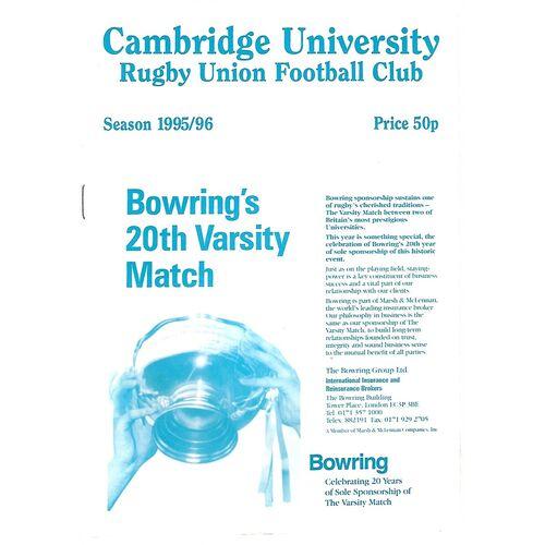 1995/96 Cambridge University v Blackheath (02/03/1996) Rugby Union Programme