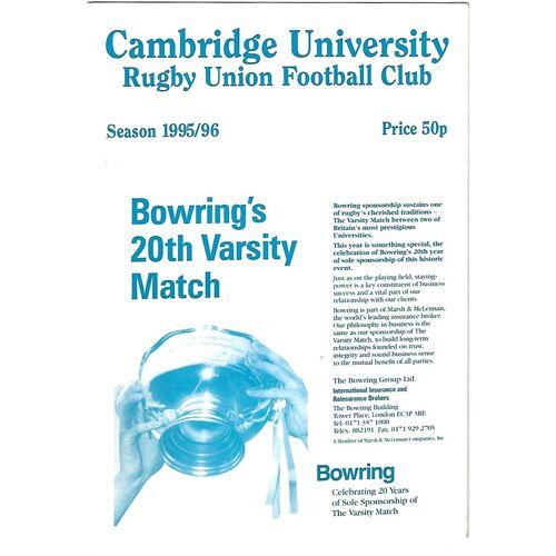 1995/96 Cambridge University v Crawshay's XV (17/10/1995) Rugby Union Programme