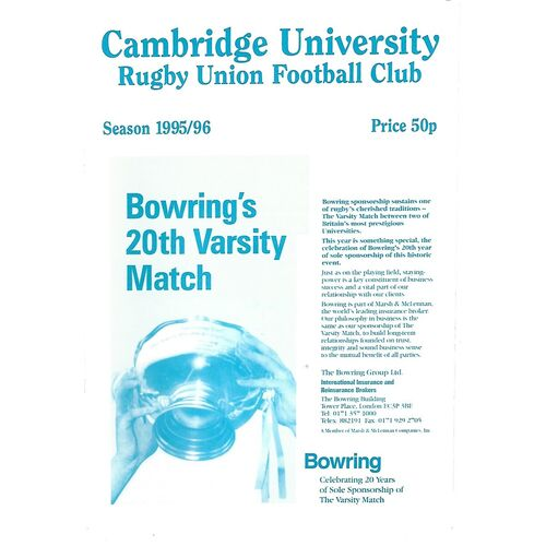 1995/96 Cambridge University v Leicester (02/12/1995) Rugby Union Programme