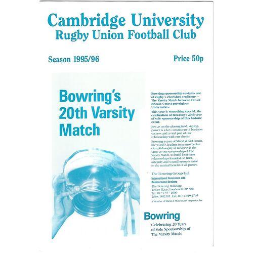 1995/96 Cambridge University v Northampton (07/11/1995) Rugby Union Programme
