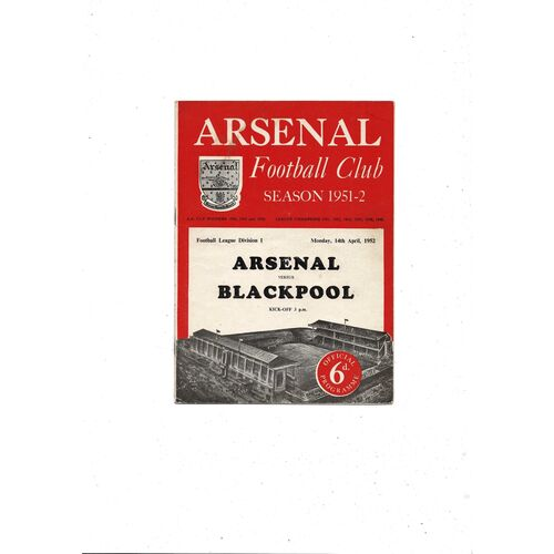 1951/52 Arsenal v Blackpool Football Programme