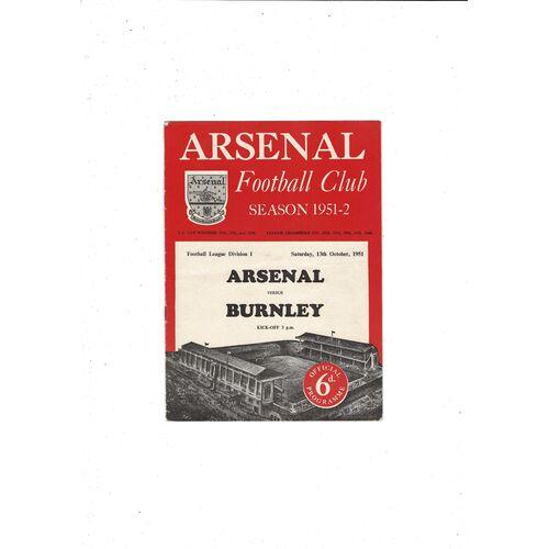 1951/52 Arsenal v Burnley Football Programme