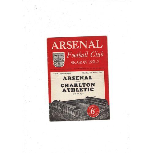 1951/52 Arsenal v Charlton Athletic Football Programme