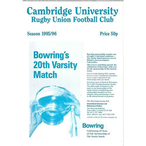 1995/96 Cambridge University v Rosslyn Park (10/10/1995) Rugby Union Programme