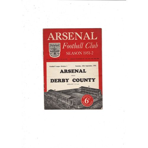 1951/52 Arsenal v Derby County Football Programme