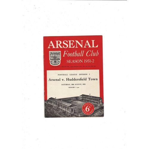 1951/52 Arsenal v Huddersfield Town Football Programme