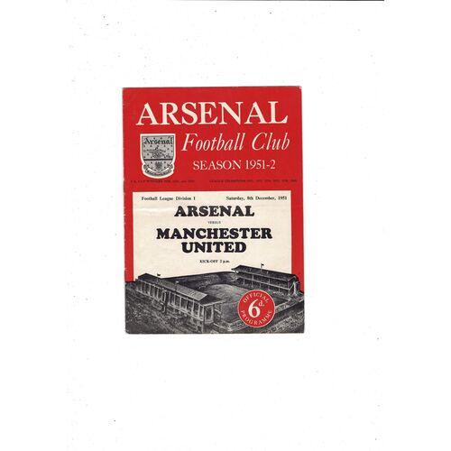 1951/52 Arsenal v Manchester United Football Programme