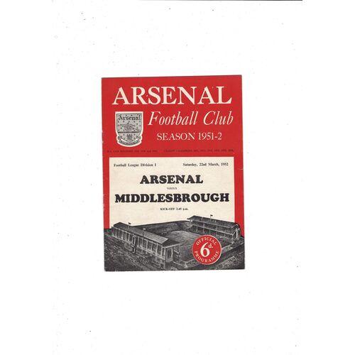 1951/52 Arsenal v Middlesbrough Football Programme