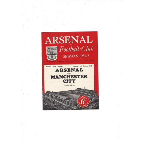 1951/52 Arsenal v Manchester City Football Programme