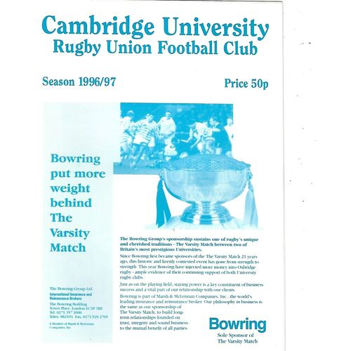 1996/97 Cambridge University v Otago (18/01/1997) Rugby Union Programme