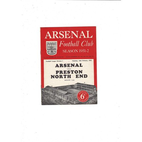 1951/52 Arsenal v Preston Football Programme