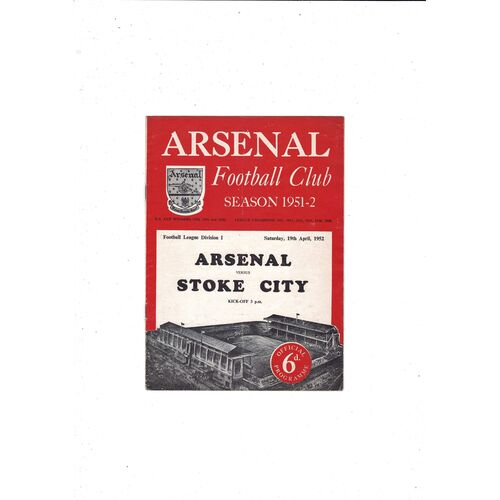 1951/52 Arsenal v Stoke City Football Programme