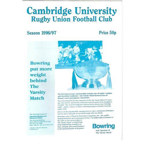 1996/97 Cambridge University v Waseda University (08/03/1997) Rugby Union Programme