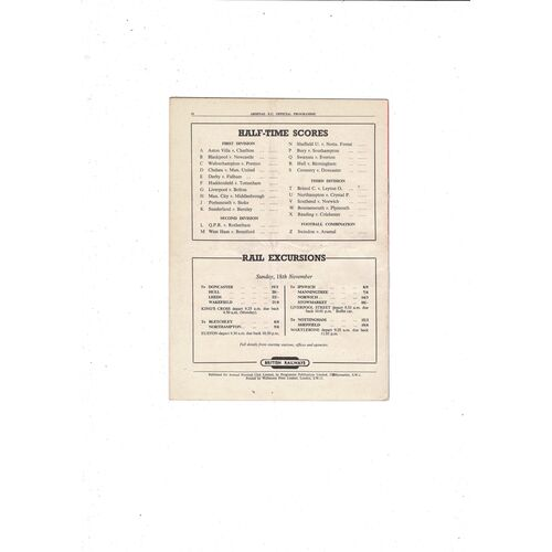 1951/52 Arsenal v West Bromwich Albion Football Programme