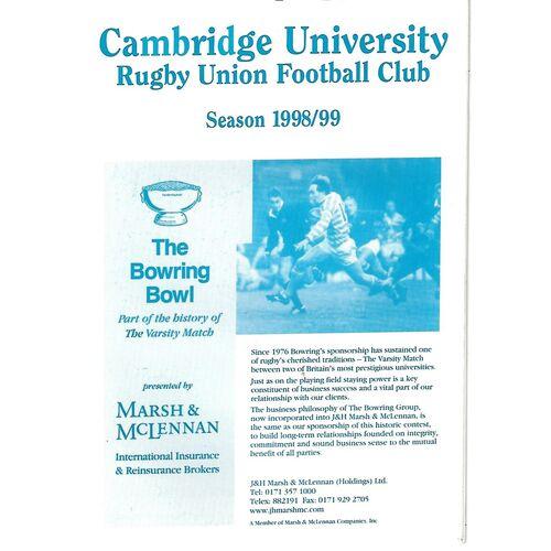 1998/99 Cambridge University v Durham University (16/01/1999) Rugby Union Programme