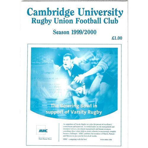 1999/00 Cambridge University V Crawshay's Welsh XV (16/02/2000) Rugby Union Programme