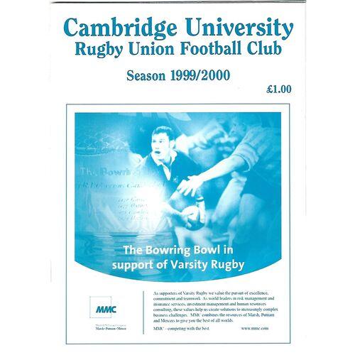 1999/00 Cambridge University v Penguins (01/03/2000) Rugby Union Programme