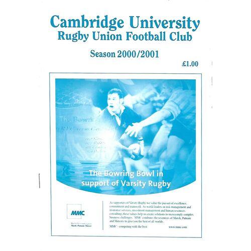 2000/01 Cambridge University (Past & Present) v Alastair Hignell XV (07/03/2001) Rugby Union Programme
