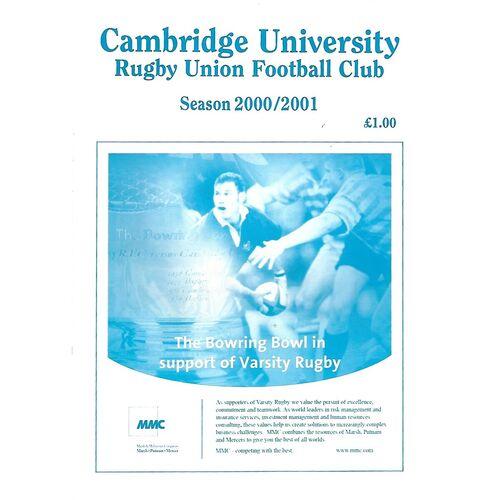 2000/01 Cambridge University v Army (07/02/2001) Rugby Union Programme