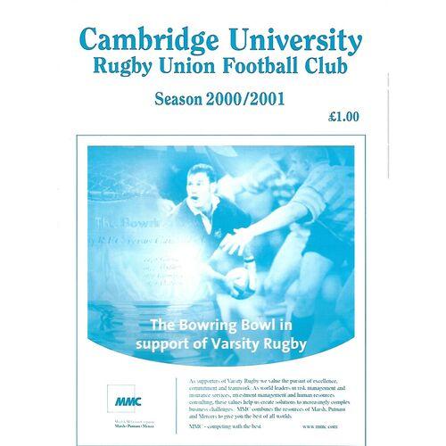 2000/01 Cambridge University v Crawshay's Welsh XV (28/02/2001) Rugby Union Programme