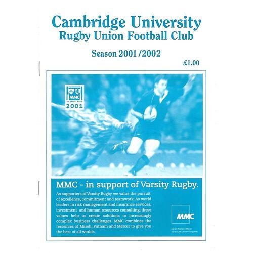 2001/02 Cambridge University v Aberavon (13/10/2001) Rugby Union Programme