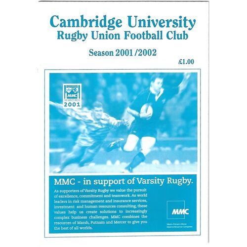 2001/02 Cambridge University v Northampton Saints (09/10/2001) Rugby Union Programme