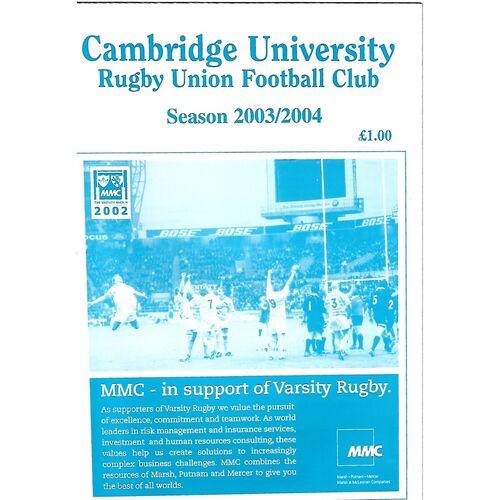 2003/04 Cambridge University v Bedford (14/10/2003) Rugby Union Programme