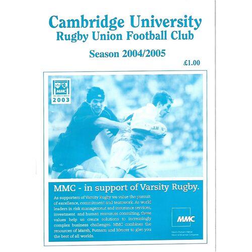 2004/05 Cambridge University v Australian Universities (29/01/2005) Rugby Union Programme