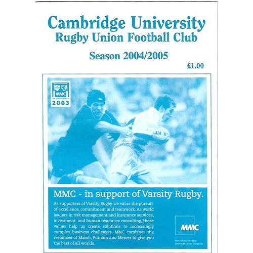 2004/05 Cambridge University v Cambridge The Trevor Littlechild Cup (05/10/2004) Rugby Union Programme