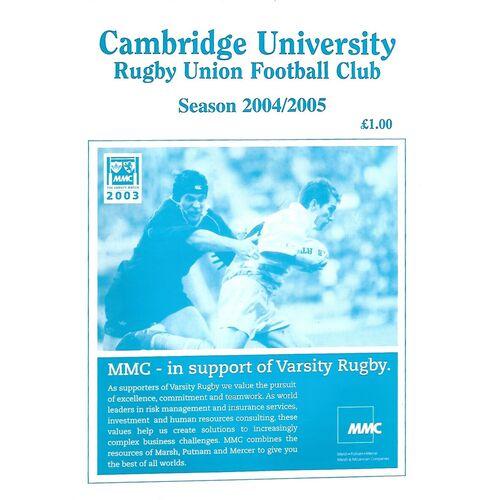 2004/05 Cambridge University v Durham University (22/01/2005) Rugby Union Programme
