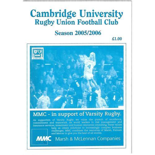2005/06 Cambridge University v Bedford (18/10/2005) Rugby Union Programme