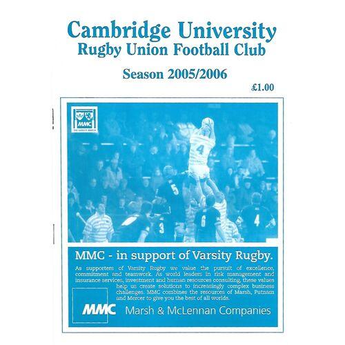 2005/06 Cambridge University v Cambridge The Trevor Littlechild Cup (04/10/2005) Rugby Union Programme