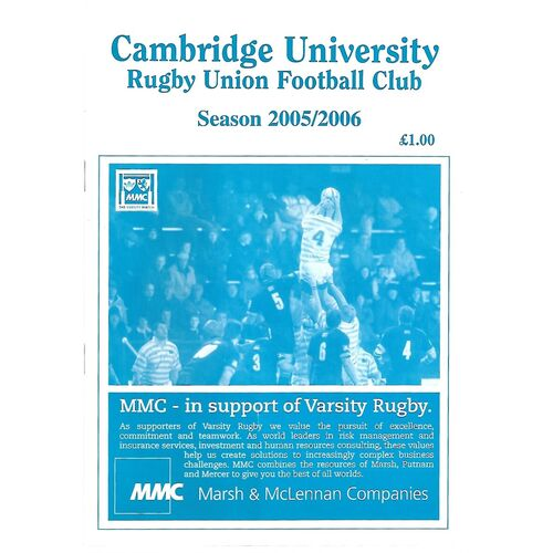 2005/06 Cambridge University v Leicester (10/10/2005) Rugby Union Programme